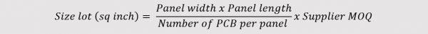 Buymanager - PCB size lot formula